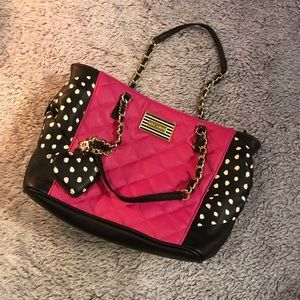 Betsey Johnson Hot Pink And Black Polka Dot Purse